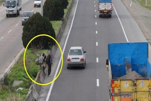 تصادف با عابر پیاده در بزرگراه